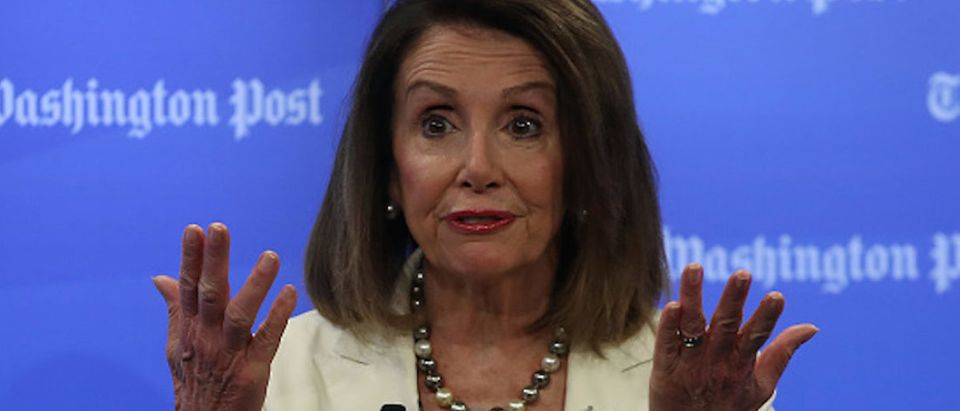 House Speaker Nancy Pelosi (D-CA) speaks about the first 100 days of the 116th Congress during an interview with Robert Costa at the Washington Post, on May 8, 2019 in Washington, DC