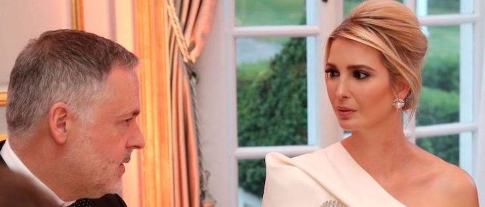 Ivanka Trump (C) attends a dinner at Winfield House, the residence of the US Ambassador, where US President Trump is staying whilst in London, on June 4, 2019, on the second day of the US President's three-day State Visit to the UK. - US President Donald Trump turns from pomp and ceremony to politics and business on Tuesday as he meets Prime Minister Theresa May on the second day of a state visit expected to be accompanied by mass protests. (Photo credit: CHRIS JACKSON/AFP/Getty Images)