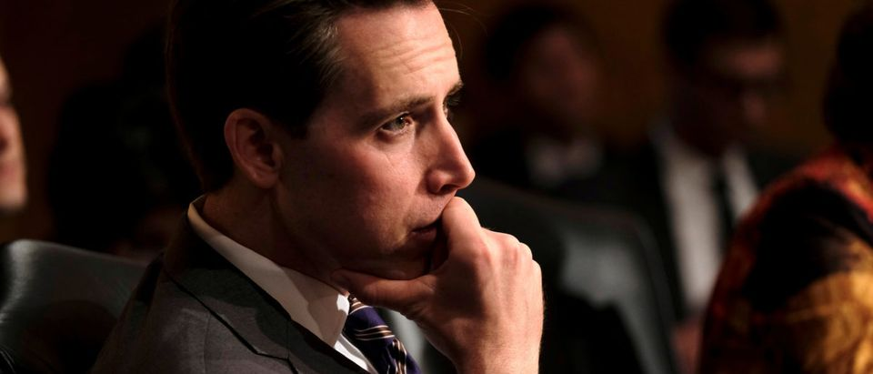 U.S. Sen. Josh Hawley listens as acting Homeland Security Secretary Kevin McAleenan testifies before the Senate Homeland Security and Governmental Affairs Committee in Washington, U.S., May 23, 2019. REUTERS/James Lawler Duggan