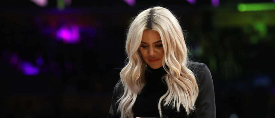 Khloé Kardashian leaves an NBA game between the Cleveland Cavaliers and the Los Angeles Lakers during the second half of a game at Staples Center on January 13, 2019 in Los Angeles, California. NOTE TO USER: User expressly acknowledges and agrees that, by downloading and or using this photograph, User is consenting to the terms and conditions of the Getty Images License Agreement. (Photo by Sean M. Haffey/Getty Images)