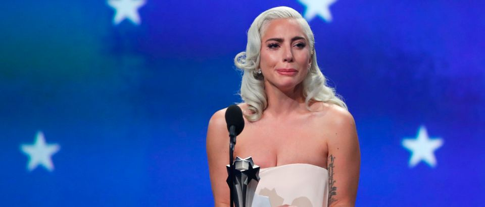 "24th Critics Choice Awards - Show - Santa Monica, California, U.S., January 13, 2019 - Lady Gaga reacts as she accepts the award for Best Actress for ""A Star is Born"" in a tie with Glenn Close (not pictured) who won for ""The Wife."" REUTERS/Mike Blake"