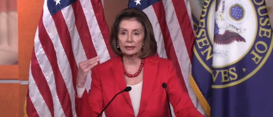House Speaker Nancy Pelosi talks to reporters, June 27, 2019. (YouTube screen capture/GOP War Room)