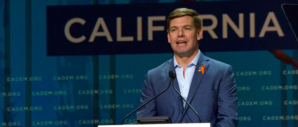 Presidential candidate Eric Swalwell, Congressman, speaking at the Democratic National Convention inside Moscone center