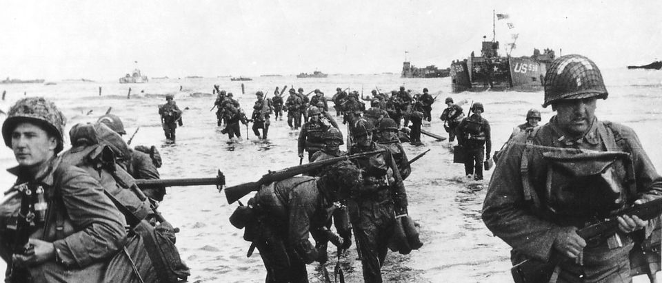 Handout photo of U.S. reinforcements landing on Omaha beach during the Normandy D-Day landings near Vierville sur Mer