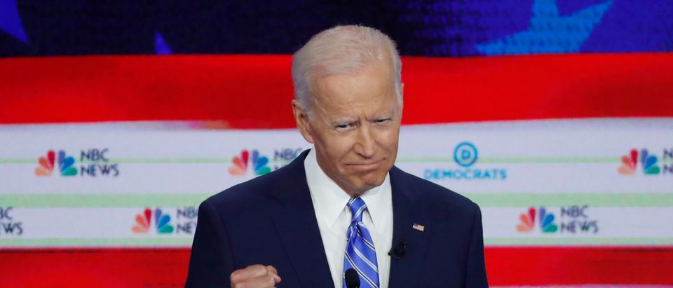 Former Vice President Joe Biden gestures during the second night of the first Democratic presidential candidates debate in Miami, Florida, U.S., June 27, 2019. REUTERS/Mike Segar