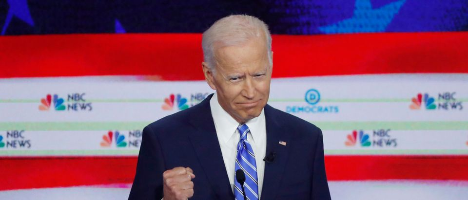 Former Vice President Joe Biden speaks during the second night of the first U.S. 2020 presidential election Democratic candidates debate in Miami, Florida, U.S.
