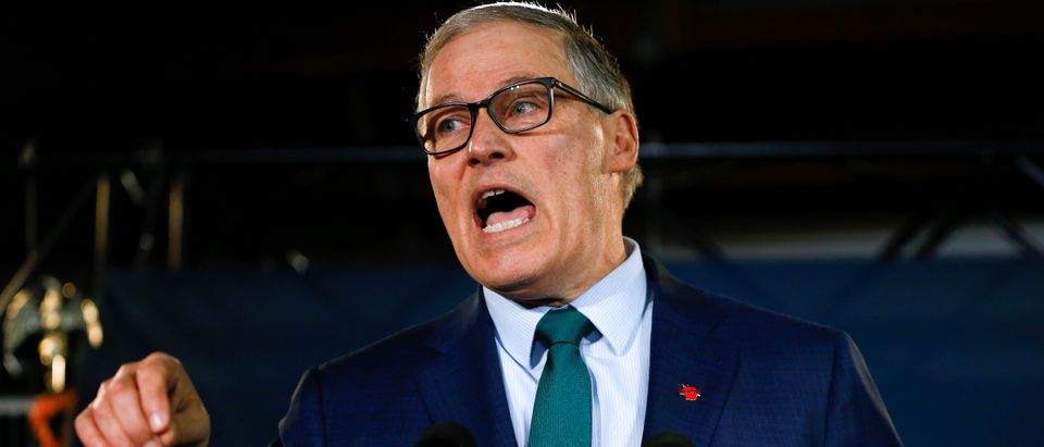 Washington state Governor Inslee speaks during a news conference to announce his decision to seek the Democratic Party's nomination for president in 2020 at A&R Solar in Seattle