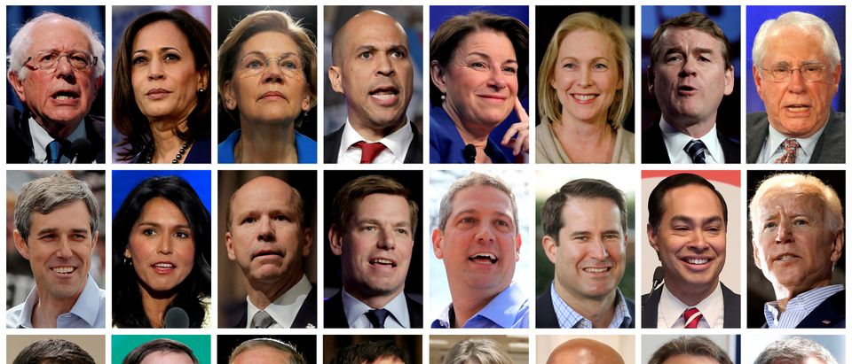 Twenty four 2020 Democratic presidential candidates in a combination photos