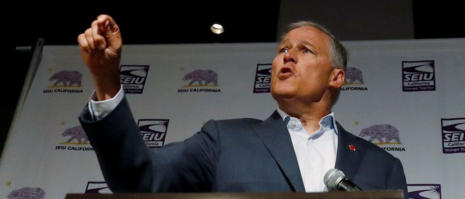 Democratic presidential candidate and Washington state Gov. Jay Inslee campaigns during a SEIU California Democratic Delegate Breakfast in San Francisco, California, U.S., June 1, 2019. REUTERS/Stephen Lam