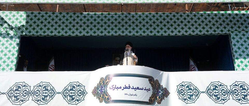 Iran's Supreme Leader Ayatollah Ali Khamenei delivers a sermon to worshippers during Eid al-Fitr prayers marking the end of the fasting month of Ramadan in Tehran. Official Khamenei website/Handout via REUTERS