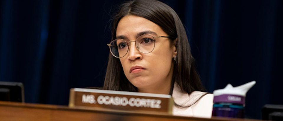 WASHINGTON, DC - MAY 15: U.S. Rep. Alexandria Ocasio-Cortez (D-NY) listens during a House Civil Rights and Civil Liberties Subcommittee hearing on confronting white supremacy at the U.S. Capitol on May 15, 2019 in Washington, DC. During the hearing, subcommittee members and witnesses discussed the impact on the communities most victimized and targeted by white supremacists. (Photo by Anna Moneymaker/Getty Images)