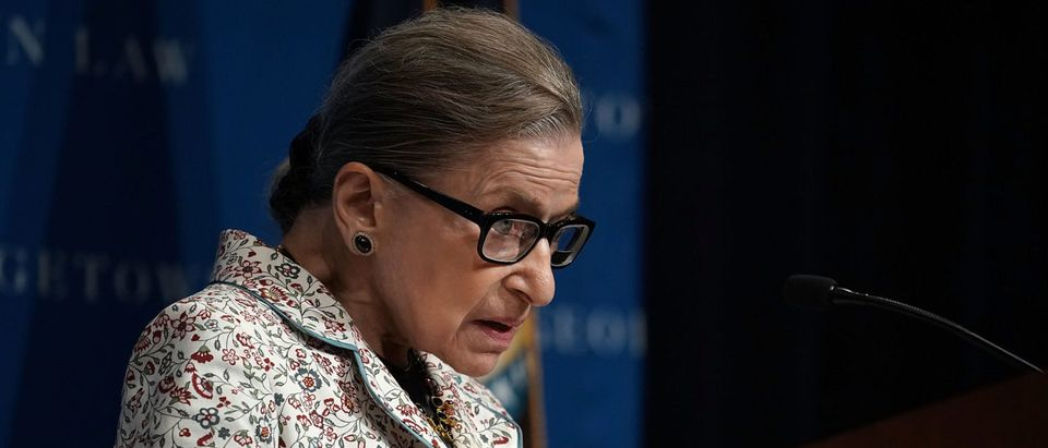 Justice Ruth Bader Ginsburg gives a lecture at Georgetown University Law Center on Sept. 26, 2018. (Alex Wong/Getty Images)
