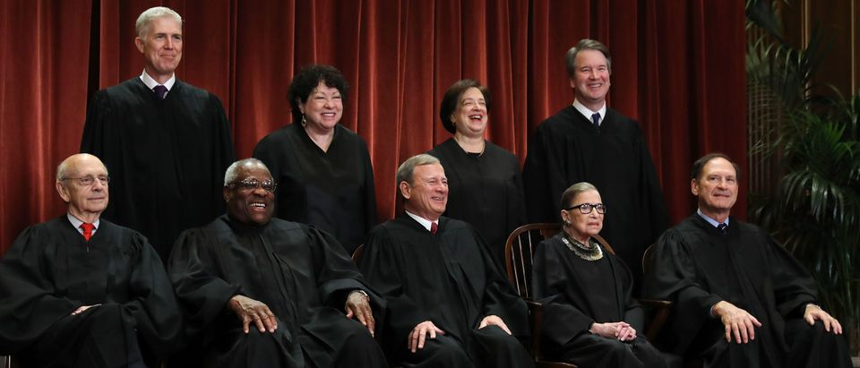 Members of the Supreme Court pose for their official portrait on November 30, 2018. (Chip Somodevilla/Getty Images)