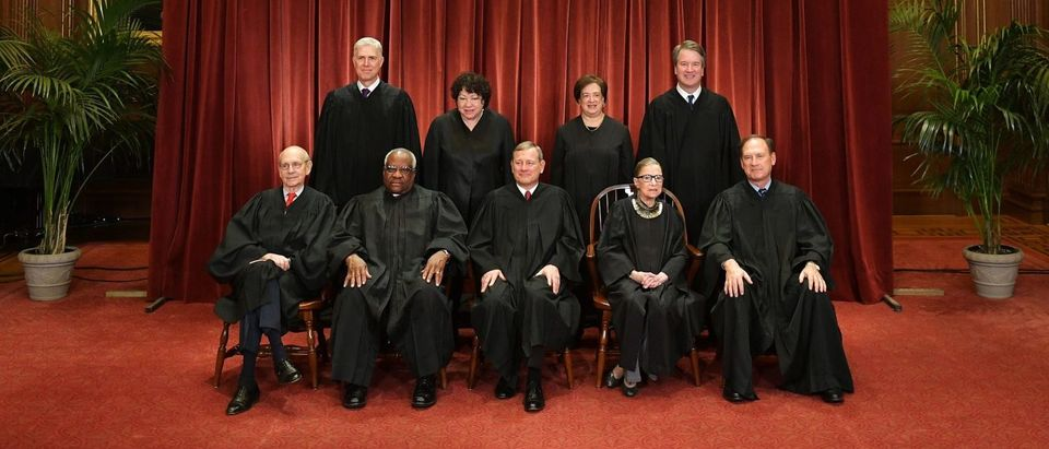 Justices of the Supreme Court pose for their official photo on November 30, 2018. (Mandel Ngan/AFP/Getty Images)