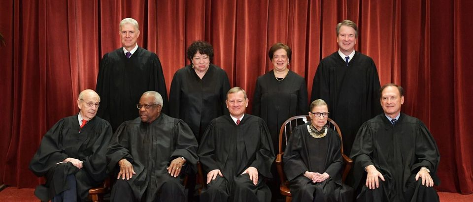 Justices of the Supreme Court pose for their official portrait on November 30, 2018. (Mandel Ngan/AFP/Getty Images)