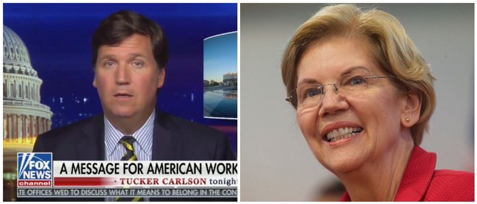 Tucker Carlson (Fox News screenshot) Elizabeth Warren (Mark Makela : Contributor)