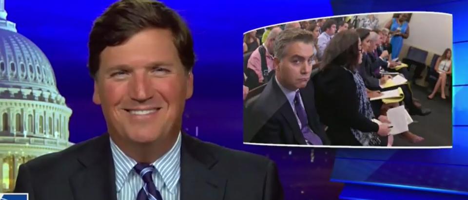 Tucker Carlson mocks Jim Acosta (Fox News screengrab)