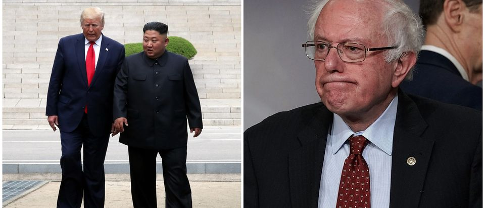 Kim and Trump vs. Bernie Sanders side-by-side/ Getty Images collage