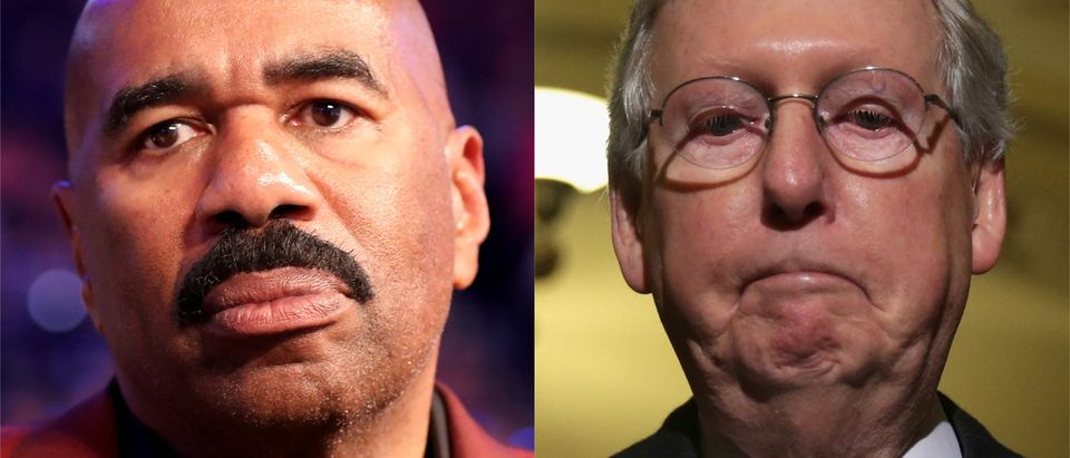 Steve Harvey and Mitch McConnell side-by-side/ Getty Images collage
