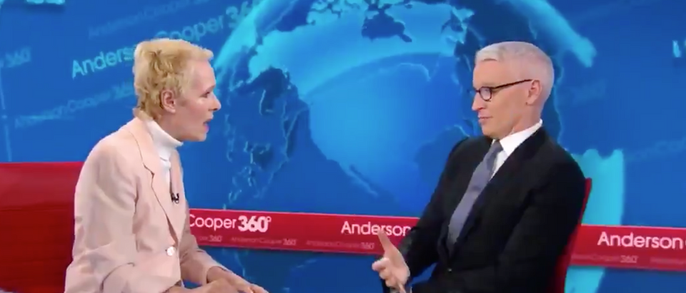 Anderson Cooper interviews Elle advice columnist E. Jean Carroll. Screen Shot/CNN
