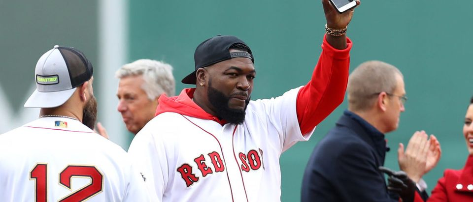 Former MLB player David Ortiz waves before the home opener between the Boston Red Sox and the Toronto Blue Jays at Fenway Park on April 09, 2019 in Boston, Massachusetts. (Photo by Maddie Meyer/Getty Images)