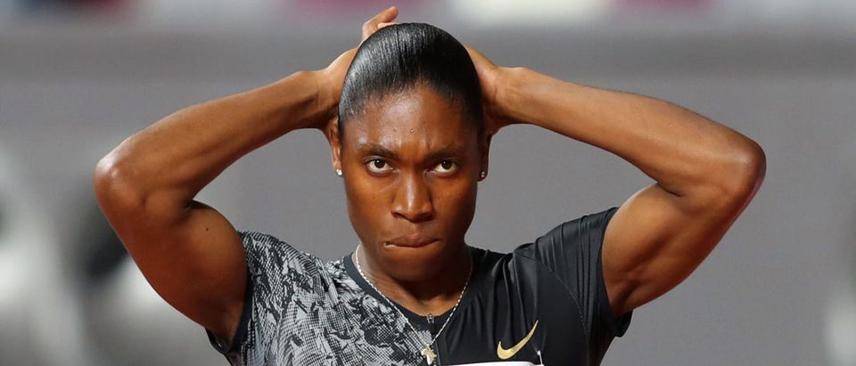 Caster Semenya of South Africa looks on prior to competing in the Women's 800 metres during the IAAF Diamond League event at the Khalifa International Stadium on May 03, 2019 in Doha, Qatar. (Francois Nel/Getty Images)