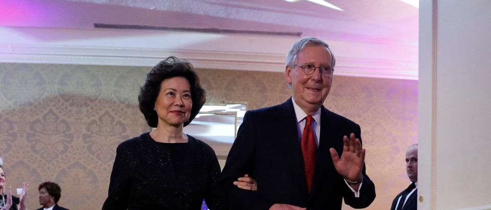 Senate Majority Leader Mitch McConnell and his wife, Secretary of Transportation nominee Elaine Chao arrive at the Kentucky Society of Washington's Bluegrass Ball at the Omni Shoreham January 18, 2017 in Washington, DC. (Photo by Aaron P. Bernstein/Getty Images)