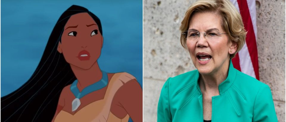 Pocahontas and Elizabeth Warren (Youtube + Sergio Flores/Getty Images)