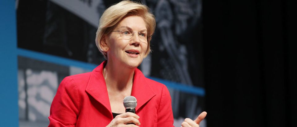 Elizabeth Warren speaks onstage at the MoveOn Big Ideas Forum (Miikka Skaffari/Getty Images for MoveOn)