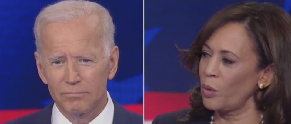 Kamala Harris and Joe Biden face off on debate stage. Screen Shot/NBC