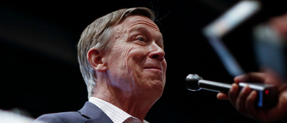 Democratic presidential candidate, former Colorado Gov. John Hickenlooper speaks to reporters in the spin room ahead of the first Democratic presidential primary debate for the 2020 election at the Adrienne Arsht Center for the Performing Arts, June 26, 2019 in Miami, Florida. (Photo by Drew Angerer/Getty Images)