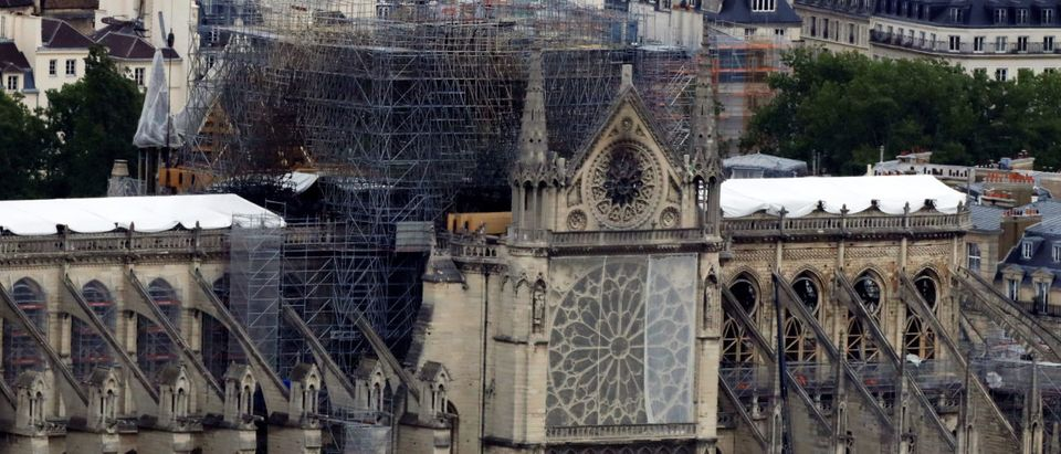 A view shows Notre-Dame Cathedral after a massive fire devastated large parts of the gothic structure, as French environmental NGO warns about air pollution and lead dust released in the air by Notre-Dame Cathedral dramatic fire in Paris, France, May 10, 2019. REUTERS/Gonzalo Fuentes