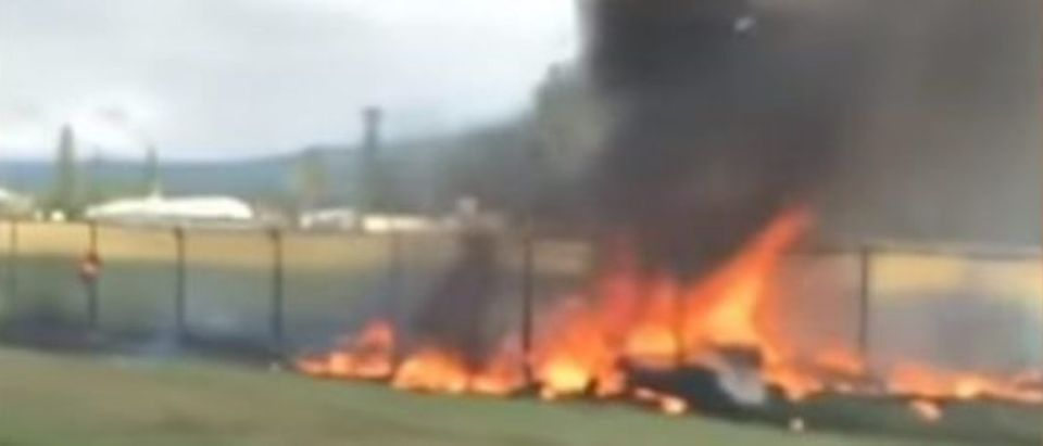 A witness recorded video of a plane crash in Oahu, Hawaii, on June 22, 2019. YouTube screenshot/CBS This Morning courtesy Patrick Bagasol