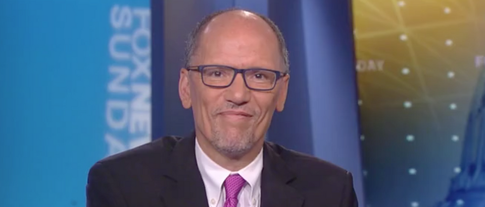 "Tom Perez reacts to the first Democratic debates on ""Fox News Sunday."" Screen Shot/Fox"