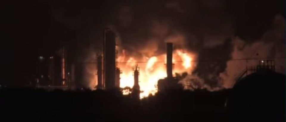 Fire crews battled flames at Philadelphia Energy Solutions after a vat of butane ignited and exploded on June 21, 2019. YouTube screenshot/ CNBC Television