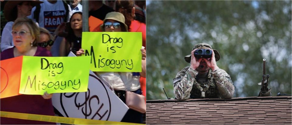 Mothers protest Drag Queen Story Hour in Spokane June 15, stock photo of a sniper on a roof. (Youtube+Scott Olson/Getty Images)