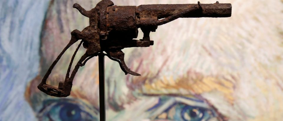 The gun believed to be used by painter Vincent Van Gogh (1853-1890) to shoot himself on July 27, 1890, in Auvers-sur-Oise is presented by Drouot auction house in Paris, France, June 14, 2019. The Lefaucheux pinfire revolver was found by a peasant around 1960 in the field where the artist was fatally wounded and it will be put on auction June 19. REUTERS/Charles Platiau