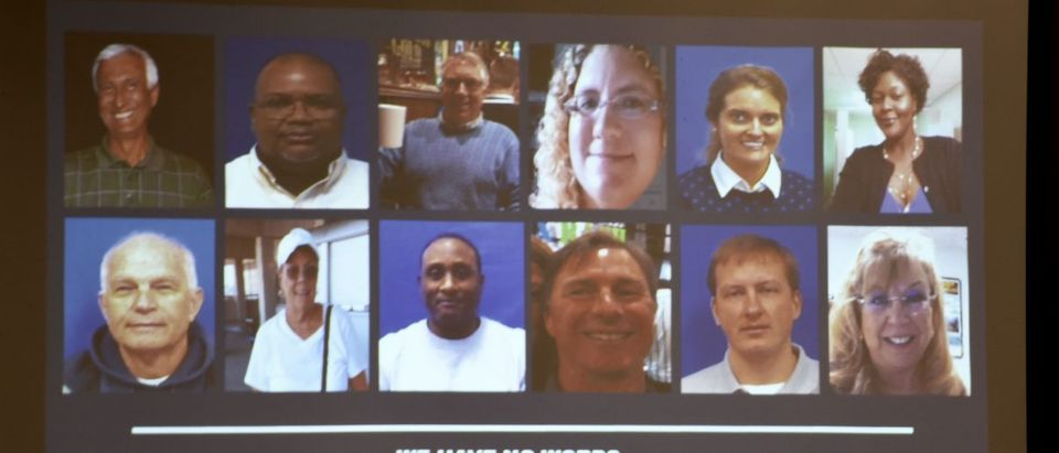 A slide of the victims in the May 31, 2019 mass shooting at a Virginia, Beach, Virginia, municipal building is shown during a press conference on June 1, 2019. (ERIC BARADAT/AFP/Getty Images)
