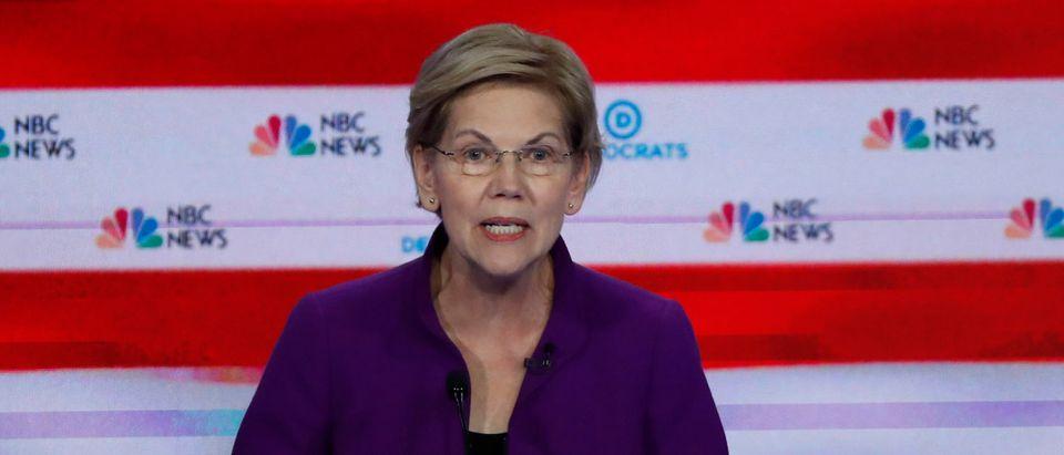 Senator Warren speaks at the first U.S. 2020 presidential election Democratic candidates debate in Miami, Florida, U.S., REUTERS/Mike Segar