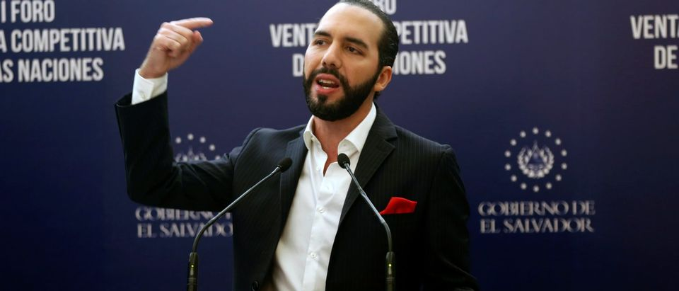 President of El Salvador Nayib Bukele speaks during a joint news conference after the Competitive Advantage of Nations Forum in San Salvador REUTERS/Jose Cabezas