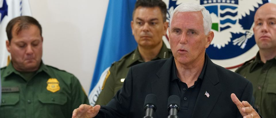 U.S. Vice President Mike Pence speaks during the press conference at the McAllen Border Patrol station in McAllen, Texas