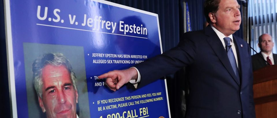 Geoffrey Berman points to a photograph of Jeffrey Epstein in New York REUTERS/Shannon Stapleton - RC197C513270