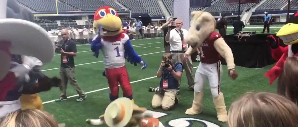 Big 12 Mascots (Credit: Screenshot/Twitter Video https://twitter.com/ESPNRittenberg/status/1150846519542788098)
