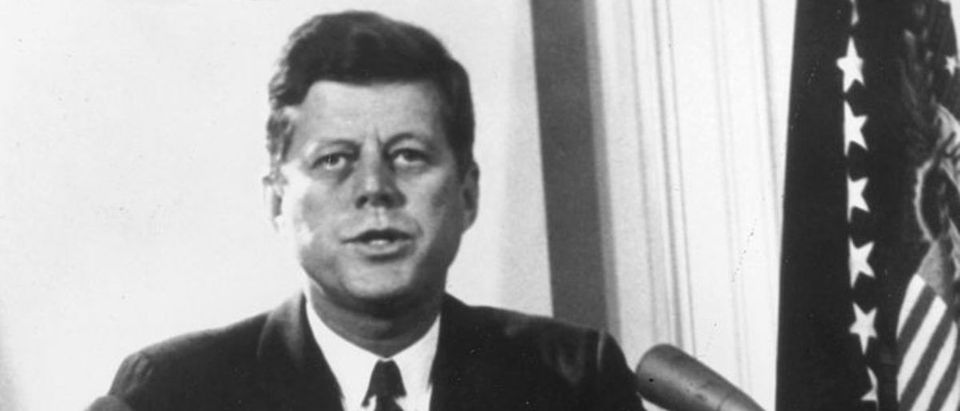 WASHINGTON - FEBRUARY 11, 1962: (EDITORIAL USE ONLY) (FILE PHOTO) U.S. President John F. Kennedy speaks during a televised speech to the nation about the Cuban missile crisis February 11, 1962 in Washington, DC. Former Russian and U.S. officials attending a conference commemorating the 40th anniversary of the missile crisis October 2002 in Cuba said that the world was closer to a nuclear conflict during the 1962 standoff between Cuba and the U.S., than governments were aware of. (Photo by Getty Images)