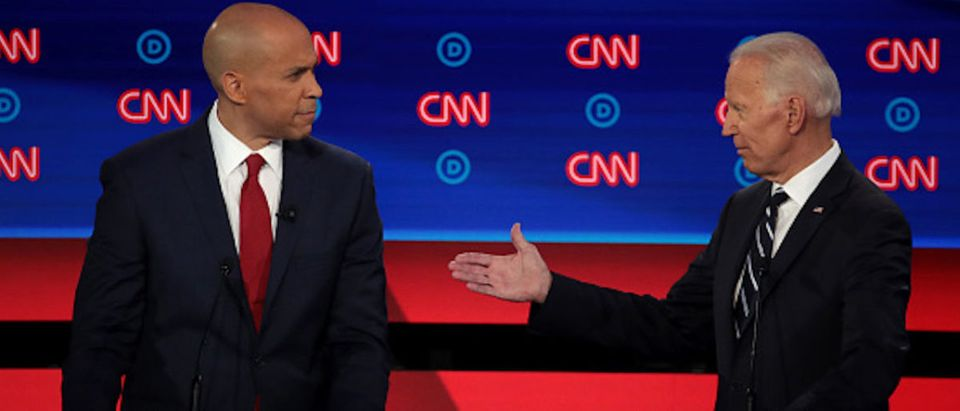 Democratic presidential candidate Sen. Cory Booker (D-NJ) (L) and former Vice President Joe Biden during the Democratic Presidential Debate at the Fox Theatre July 31, 2019 in Detroit, Michigan