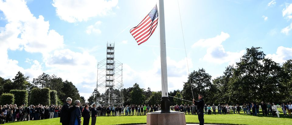 US Flag In Normandy American Cemetery And Memorial (Photo by Damien MEYER/AFP/Getty Images)