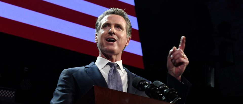 Democratic gubernatorial candidate Gavin Newsom speaks during election night event on Nov. 6, 2018 in Los Angeles, California. (Photo by Kevork Djansezian/Getty Images)