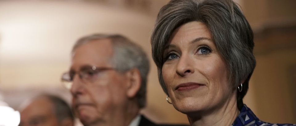 Sen. Joni Ernst listens during a media briefing after a leadership election November 18, 2018 at the U.S. Capitol in Washington, DC. (Alex Wong/Getty Images)