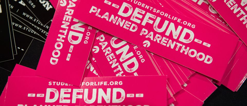 Bumper stickers advocating to defund Planned Parenthood are seen during the 2019 March for Life Conference and Expo, the day before an annual rally and march of pro-life activists that mark the anniversary of the 1973 Supreme Court case Roe v. Wade, which legalized abortion in the US, in Washington, DC, January 17, 2019. (Photo by SAUL LOEB / AFP) (Photo credit should read SAUL LOEB/AFP/Getty Images)