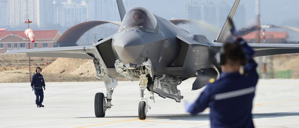 In this photo provided by South Korea Defense Acquisition Program Administration, a U.S. F-35A fighter jet lands at Chungju Air Base on March 29, 2019 in Chungju, South Korea. (Photo by South Korea Defense Acquisition Program Administration via Getty Images)